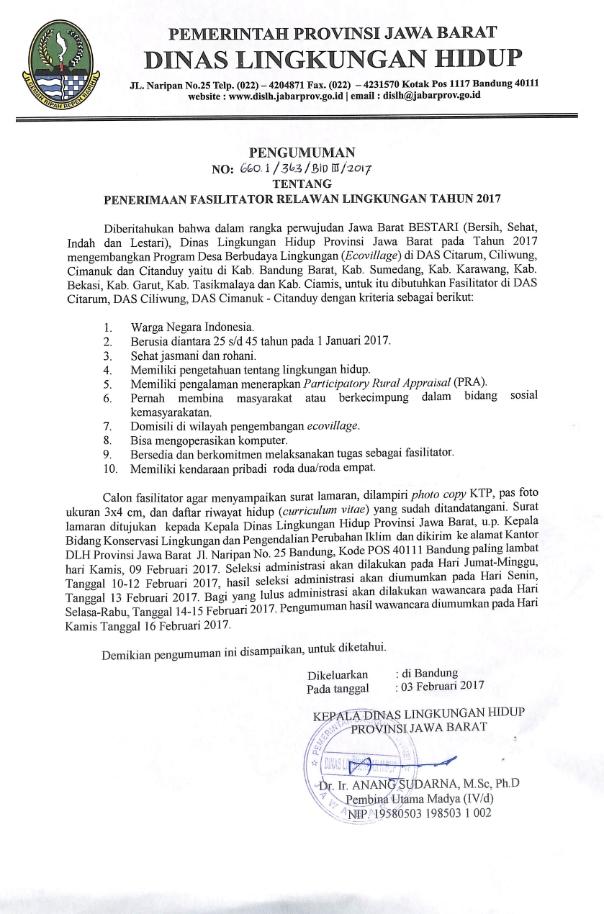 Pengumuman Fasilitator Relawan Lingkungan Tahun 2017 - PT. Centra ...